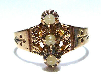 Victorian Pearl Large 10K Gold Womens Antique Estate Ring Size 9.25