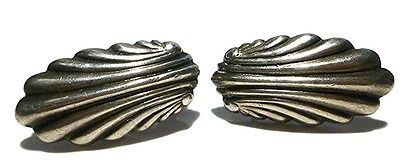 Large Heavy Spratling Sterling Silver Mexico Mexican Antique Earrings Pair