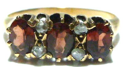 Victorian 14K Gold Garnet & Rose Cut Diamond Estate Womens Ring Band Size 6.5