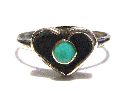 Southwestern Old Vintage Sterling Silver Turquoise Heart Ring Band Size 3.75