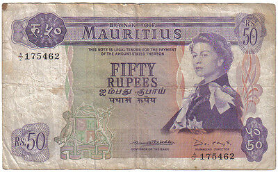 Mauritius 50 Rupees 1967 Pick 33 B Look Scans