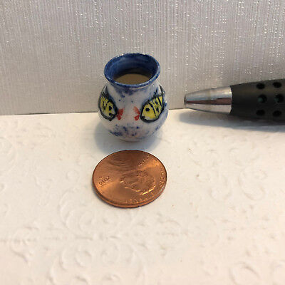 Artisan Made Michael Hunt NZ Dollhouse Miniature Ceramic Vase Very Unique
