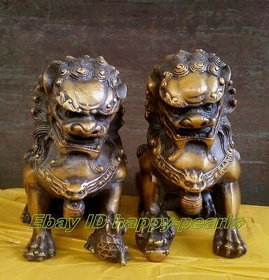 antique excellent old bronze Pair Lion Foo Dog Statue Figure Sculpture 16cm