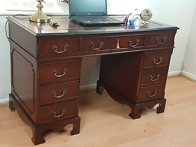 Twin Pedestal Writing Desk Reproduction Antique Brown Leather Top