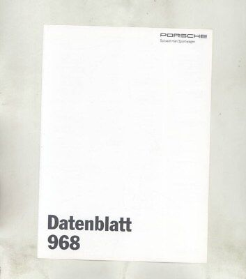 1994 Porsche 968CS 968 Specifications Brochure German wz1903