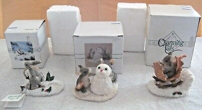 3 Charming Tails One Mouse Open Sleigh Signed - Binkey Snow Shoeing - Snowbunny