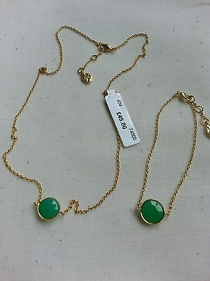 John Lewis 18 ct Gold Plated Green Chalcedony Stone Necklace & Bracelet Set