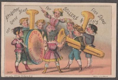 Trade Card NH Sollers Fine Shoes & Slippers~Baltimore,MD~Musical Band 1877 VG