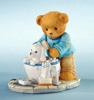 Cherished Teddies Darwin - Scrub a dub Pups in the Tub Boy w/ Dog Figure 4009180