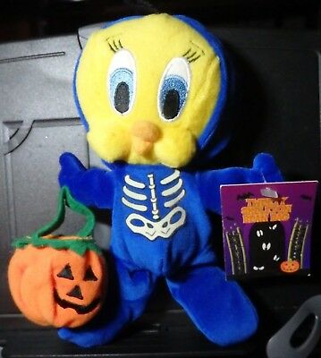 Warner Brothers Tweety SKELETON 2000 bean bag plush figure-Nw-w/tag-WB-Halloween