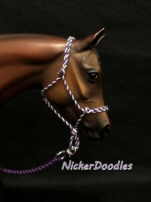 Model horse rope halter and lead rope-Traditional(1:9) size-Purple/White