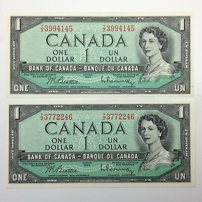 1954 Two 2 Consecutive Canada One 1 Dollar Canadian Uncirculated Banknote F205