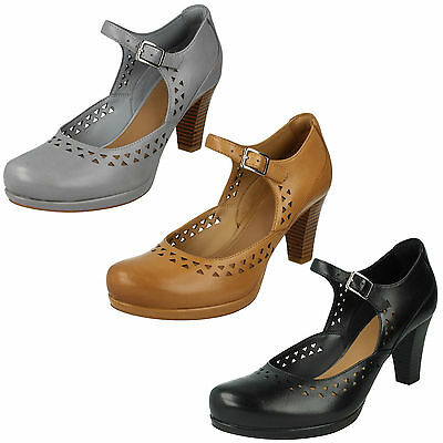 fa8dcd426146 Ladies Clarks Leather High Heel Mary Jane Buckle Smart Court Shoes Chorus  Chime