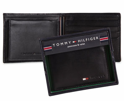 Mens Tommy Hilfiger Black Stockton Billfold Passcase Leather Wallet Gift Boxed