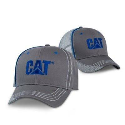 8319bf9b Caterpillar CAT Equipment Charcoal & Blue Twill Mesh Snapback Cap/Hat