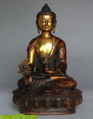 "8"" Old Bronze Buddhism Bodhisattva Buddha excellent Old Temple God Statue 21cm"