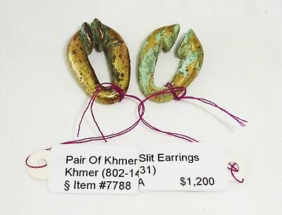 Pair 10C Cambodian Khmer Bronze & Gold Slit Ring Earring (Mil)
