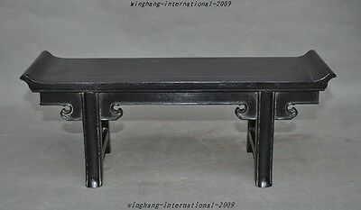 Old Chinese Black Rosewood Wood hand-carved small Desk Base Chair seat Furniture