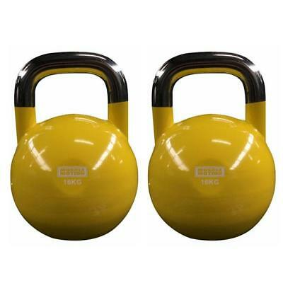 Pair of 16KG Competition Kettlebells - Yellow