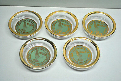 Vintage Egyptian Glass Coasters With Gold Rim, Bar Ware, Collectible