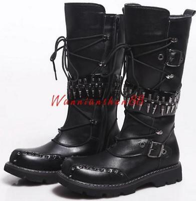 Hot Mens Punk Motorcycle Lace Up Rock Bullet Rivet Knee High Buckle Riding Boots