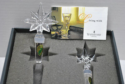 2 Vintage Waterford Crystal Congratulations Bottle Wine Stoppers New In Box