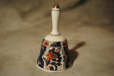 Exquisite Vintage Japan Porcelain Blue Rust Floral Decorated Gold Trim Bell