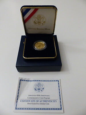 2007 Jamestown 400Th Anniversary 5 Dollar Gold Coin Proof