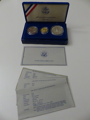 1986 Statue of Liberty 3 Coin Proof Set $5 GOLD, Silver Dollar and Half Dollar