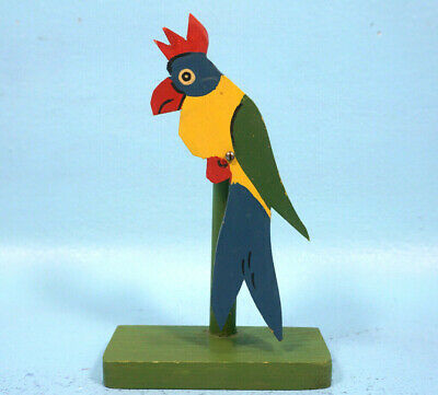 Vintage German Wood Carving Swinging PARROT? BIRD On Perch Colorful Hand Painted
