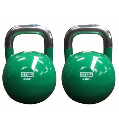 Pair of 24KG Competition Kettlebells - Green