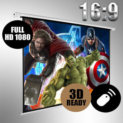 "120""inch Motorised Projector Screen 4:3 16:9 Cinema Matte White Remote HD DVD TV"