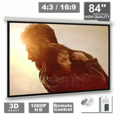 "84"" Electric Motorised Projector Screen HD 3D 4:3 16:9 Matt White Remote Control"