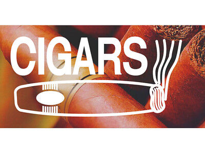 50cm by 25cm Cigars Old-Fashioned Cuban Luxury Smoke Enthusiasts Banner Sign