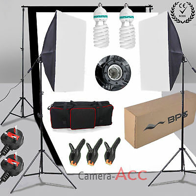 Black White Backdrop Equipment Photo Studio Softbox Continuous Lighting Kit UK