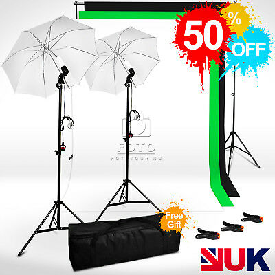 Photo Studio Continuous Lighting Background Stand White Black White Backdrop Kit