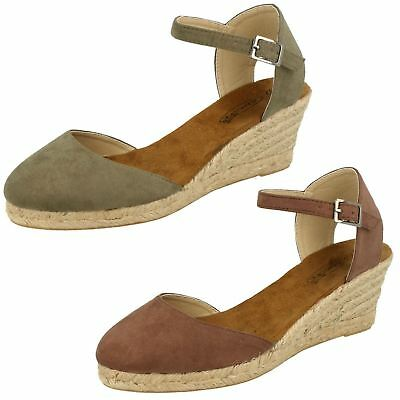 50636177985a Ladies Spot On Closed Toe Wedge Heel Buckle Ankle Strap Sandals Shoes F2255