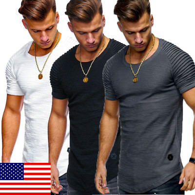 US STOCK Men's Slim Fit O Neck Short Sleeve Muscle Tee shirt Casual Tops Shirts