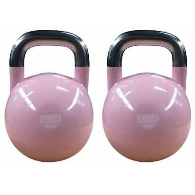 Pair of 8KG Competition Kettlebells - Pink
