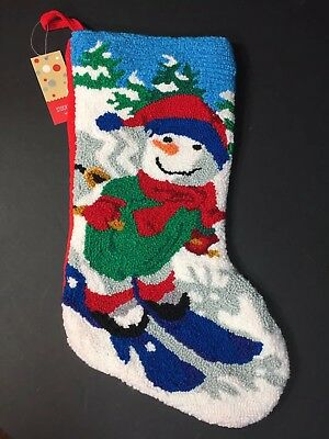 christmas stockings holiday lane macys snowman skiing red green blue gray new - Red And Green Christmas Stockings