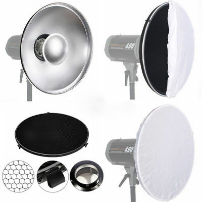 42cm Beauty Dish Honeycomb Grid Diffuser Bowens S Type Fitting Mount Reflector