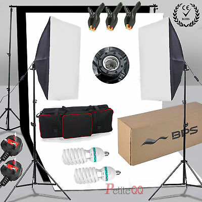 1250W Softbox Photo Video Studio Lighting 2x Backdrop  Background Stand Kit
