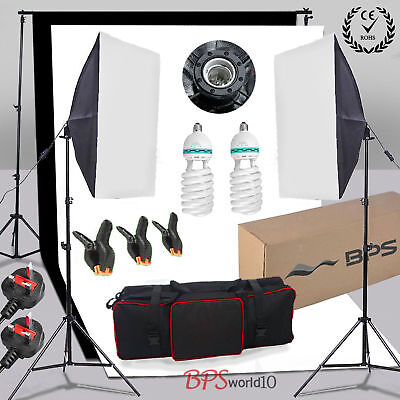 Photo Studio Softbox Soft Box Lighting 2 Backdrop + Background Support Stand Kit