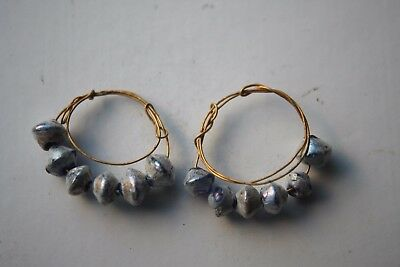 ANCIENT GREEK HELLENISTIC GOLD WIRE BEAD EAR RINGS 3rd CENTURY BC