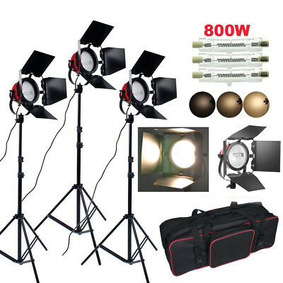 3 x 800W Red Head Continuous  Studio Lighting Kit Ring Light Record Film Dimmer