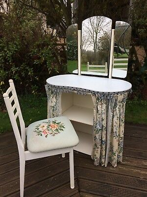 vintage kidney shape dressing table and chair