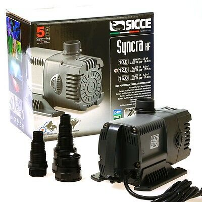 Sicce Syncra HF 12.0 3200 gph High Flow  Pond Powerhead Fountain Waterfall Pump
