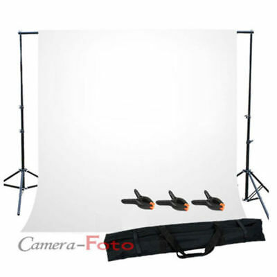 Photo Lighting Studio Backdrop Stand Support Kit White Background Free 3 Clamps