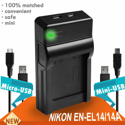 USB Battery Charger For Nikon EN-EL14 D3100 D3200 D5100 D5200 P7000 P7100 df