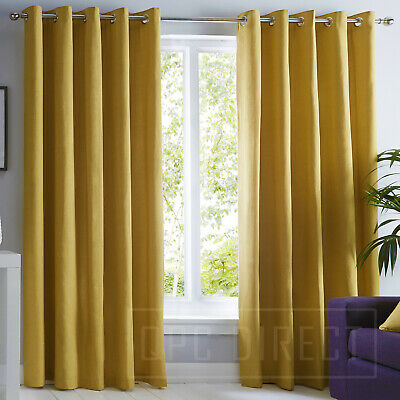 Pair of Plain 100% Cotton Eyelet Ring Top Lined Curtains, Ochre Mustard Yellow